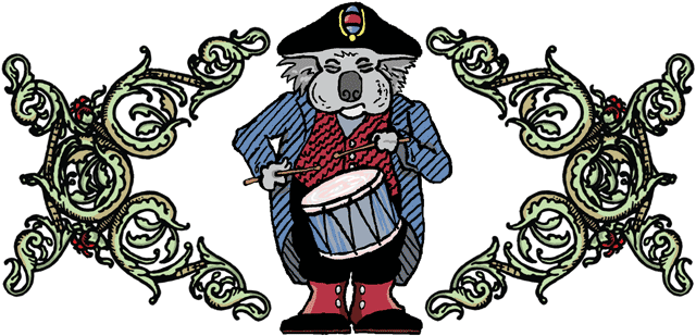 a koala with a drum
