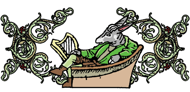 a donkey with a harp