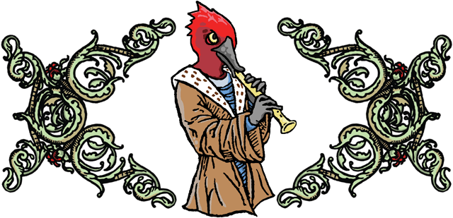 a woodpecker playing a tune