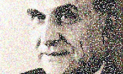 pointillist face of Nelson Goodman