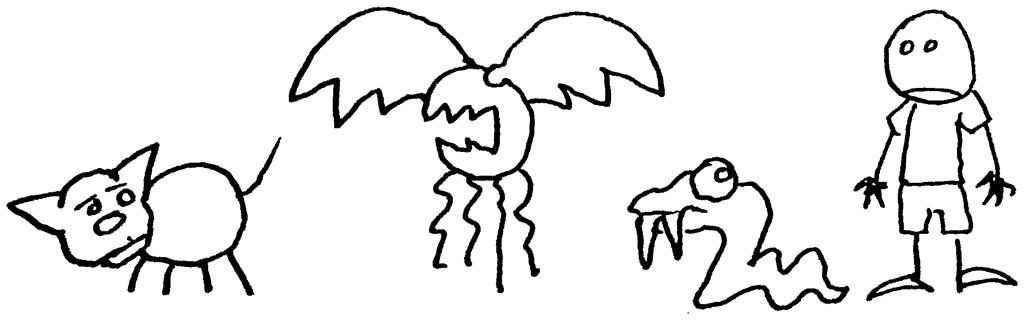 a cat, a bat (?), a snake, a schlub